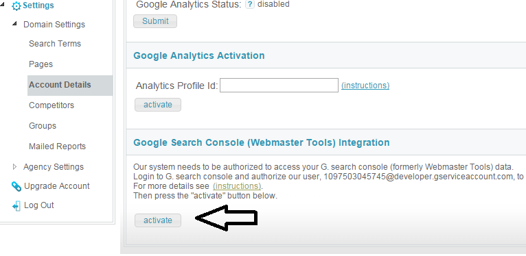 google search console integration - activate search console