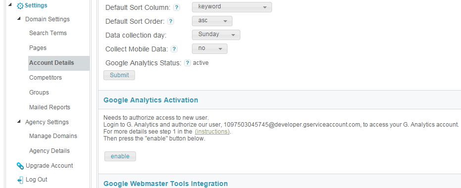 analytics enabling button